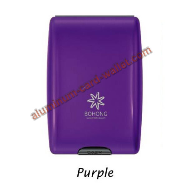 Mutifunction Aluminum Wallet For Cash Card Coin Purple