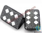 Aluminum Crystal Card Wallets Black
